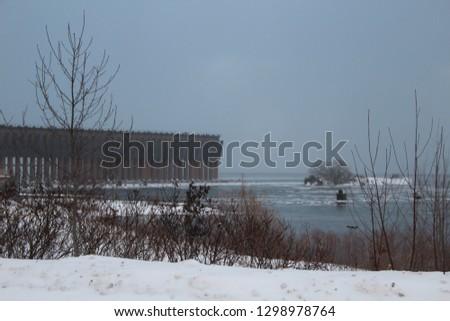 Vintage Ore Dock Before Blizzard-Marquette, Michigan
