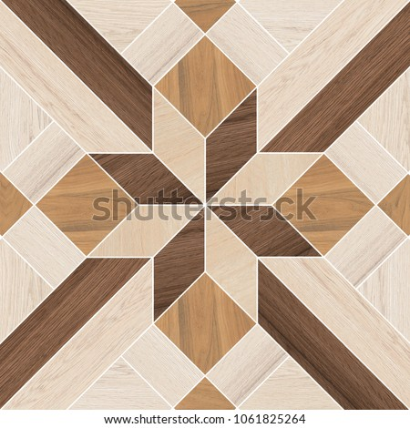 Vintage ornament.Decorative pattern.Tile mosaic.Wooden texture.Decorative geometric floor wood tile