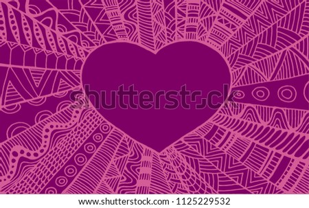 Vintage ornamental frame heart. Isolated pattern. Ethnic doodle style. Raster bohemian fantasy background.Tribal decorative purple color element card.