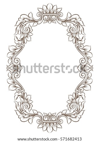Vintage ornamental o-shaped frame. Empty Border, oval wreath with ...