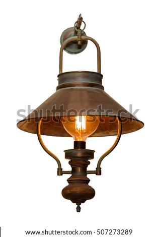 Vintage outdoor garden street wall metal electrical lamp in town or village. Isolated on white background.