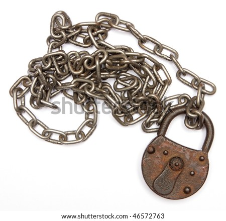 vintage padlock and chain - stock photo