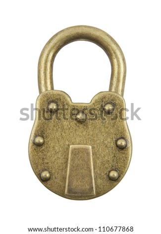 Vintage padlock isolated on white background - stock photo
