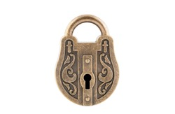 Vintage padlock isolated on white background with clipping path