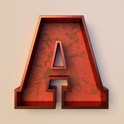 Vintage painted wood letter A with copper metal frame
