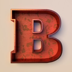 Vintage painted wood letter B with copper metal frame