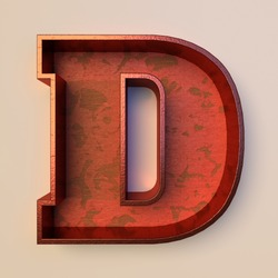 Vintage painted wood letter D with copper metal frame