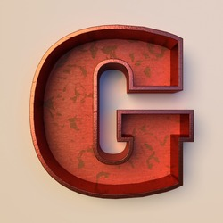 Vintage painted wood letter G with copper metal frame