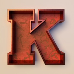 Vintage painted wood letter K with copper metal frame