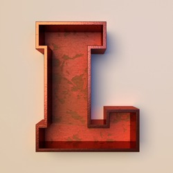 Vintage painted wood letter L with copper metal frame