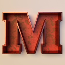 Vintage painted wood letter M with copper metal frame