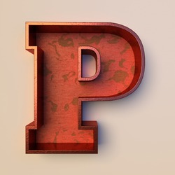 Vintage painted wood letter P with copper metal frame