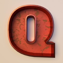 Vintage painted wood letter Q with copper metal frame