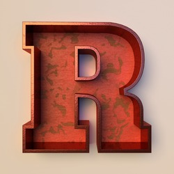 Vintage painted wood letter R with copper metal frame