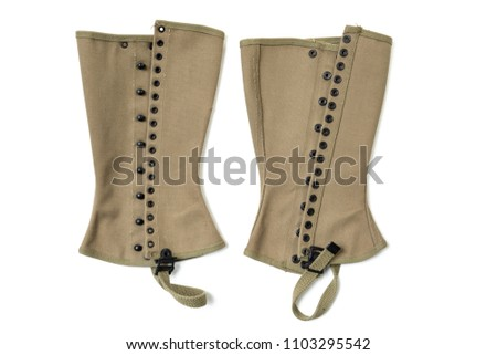 Vintage Pair of World War II US Army Canvas Leggings Gaiters Spats isolated on white