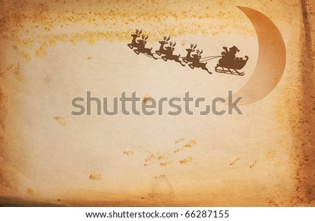 Vintage paper and Santa Claus On Sledge With Deer