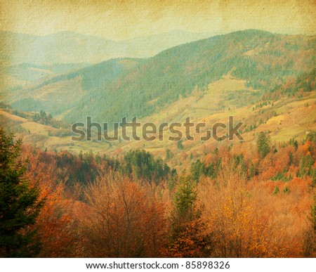 vintage  paper .  autumn in Carpathian Mountains