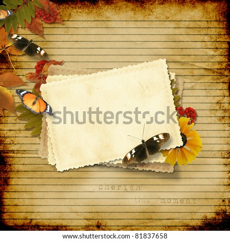 vintage paper background with a card and butterflies