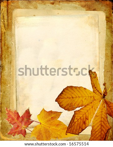 vintage paper background with autumn leaves - stock photo