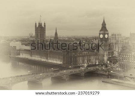 vintage paper. Buildings of Parliament with Big Ben tower in London UK view from Themes river