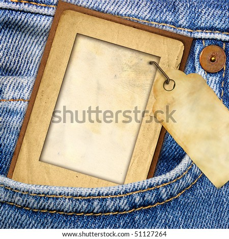 vintage paper frame with blank tag in jeans pocket from my denim series)
