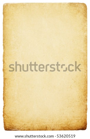 Vintage paper high detailed with clipping path isolated on white background