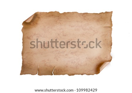 vintage paper isolated on white background