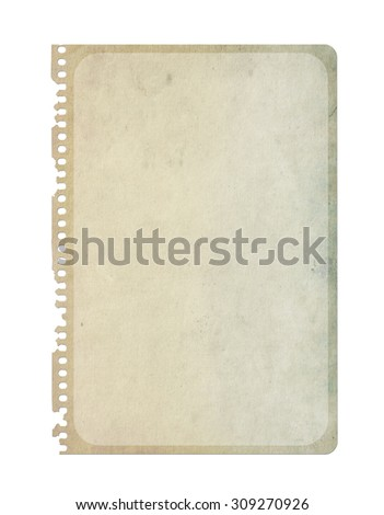 Vintage paper isolated on white. Notebook paper