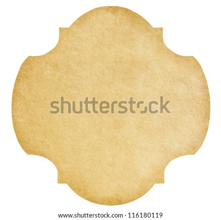 Vintage Paper Label isolated on white