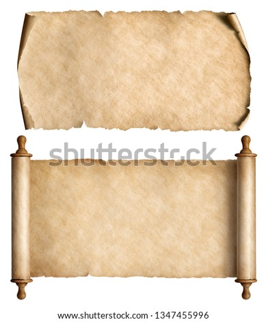 Vintage paper or parchment scrolls set isolated on white