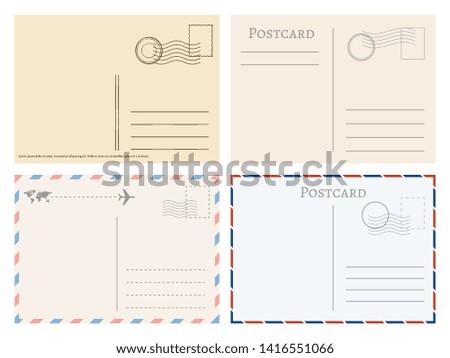 Vintage paper postal cards. Greetings from postcard template. Postage card, vintage post stamp, postal postmark for mail illustration