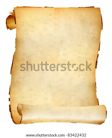 Vintage paper scroll with soft shades on white background.