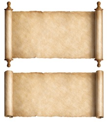 Vintage paper scrolls set isolated on white