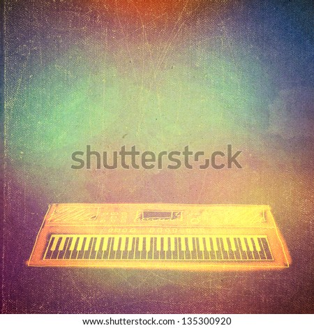 vintage paper texture, art music background, synthesizer, piano