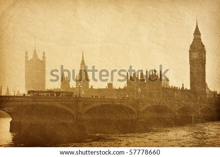 vintage paper textures. Buildings of Parliament with Big Ben  tower in London UK view from Themes river. aged paper texture.