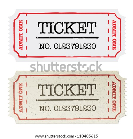 Vintage paper ticket, two versions. Raster version, vector file available in portfolio.