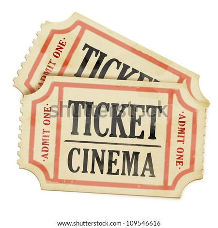 Vintage paper tickets on white background