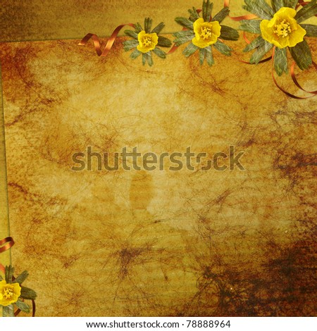 vintage paper with flowers - stock photo