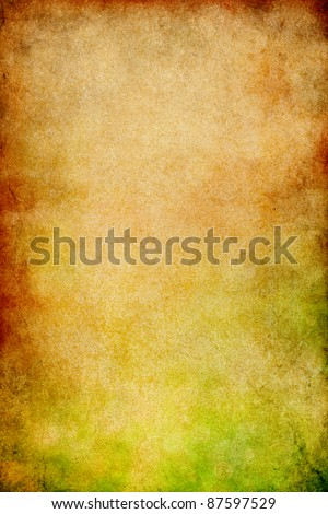 Vintage paper with stains, gritty grunge patterns, and a green to red gradient.  Image displays a distinct paper grain and texture at 100%.