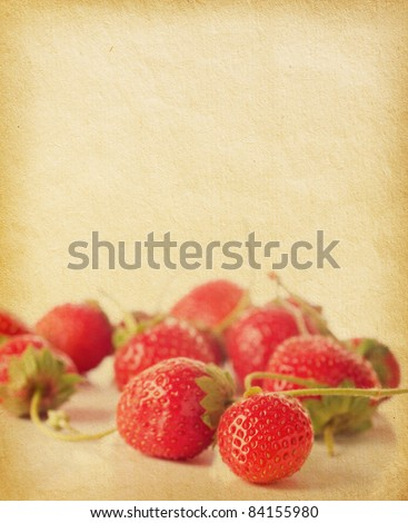 vintage paper with strawberries