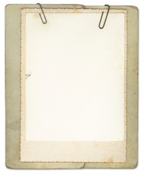 Vintage papers clipped together. Blank for your text.