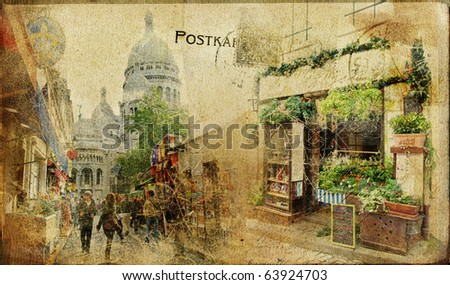 vintage Parisian cards series - Montmartre street - stock photo