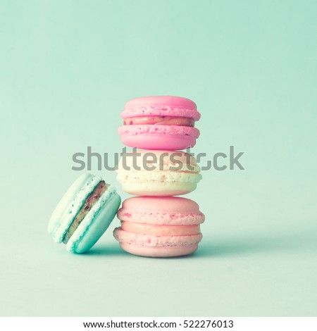 Vintage pastel colored French macaroons or macarons #522276013