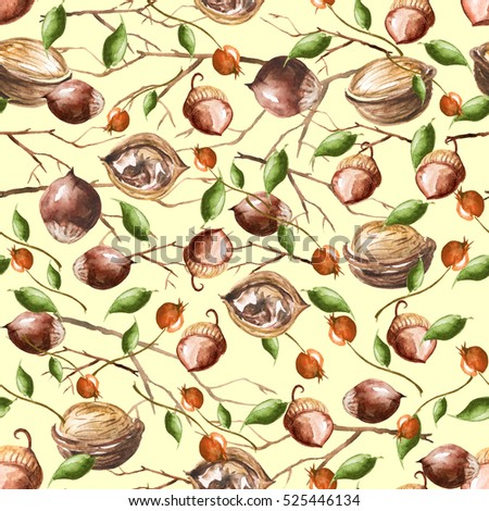 Vintage pattern with watercolors - nuts, hazelnuts, walnuts, wild rose berries, oak leaves, tree branches. Hand drawing, watercolor for various design.