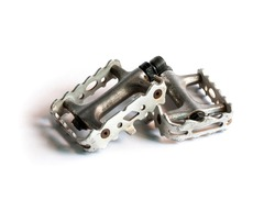 Vintage pedals for mountain bike on white background.