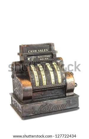 Vintage pencil sharpener in a shape of cash register isolated over white background