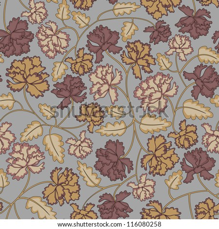 Vintage peony flowers and leaves seamless pattern on grey background.