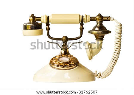 Vintage phone isolated on a white background with clipping path included