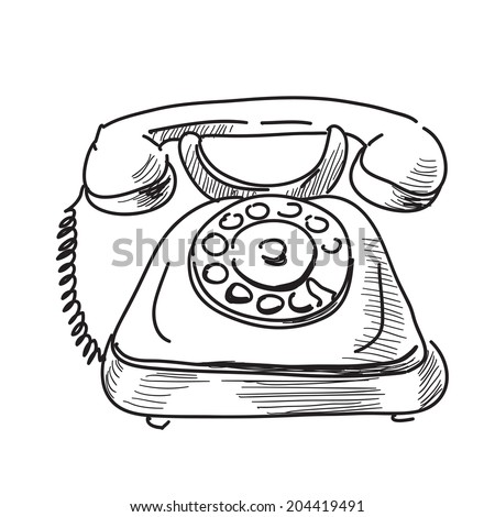Pencil Sketch Of A Vintage Telephone Stock Photo 22836124