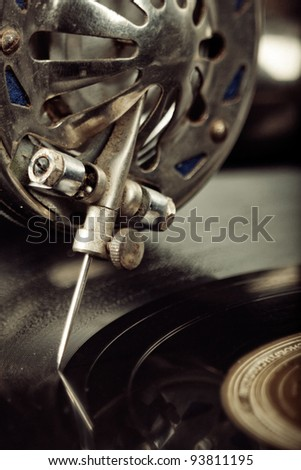 vintage phonograph close up shot with shallow depth of field - stock photo